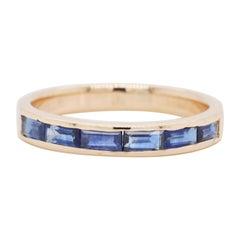 18 Karat Gold Channel Set Blue Sapphire Baguette Contemporary Band Ring
