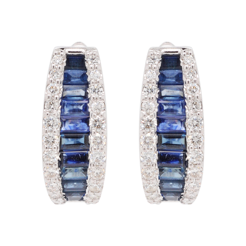18 Karat Gold Channel Set Blue Sapphire Baguette Diamond Huggies Hoop Earrings