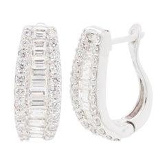 18 Karat Gold Channel Set Diamond Baguette Huggies Hoop Earrings