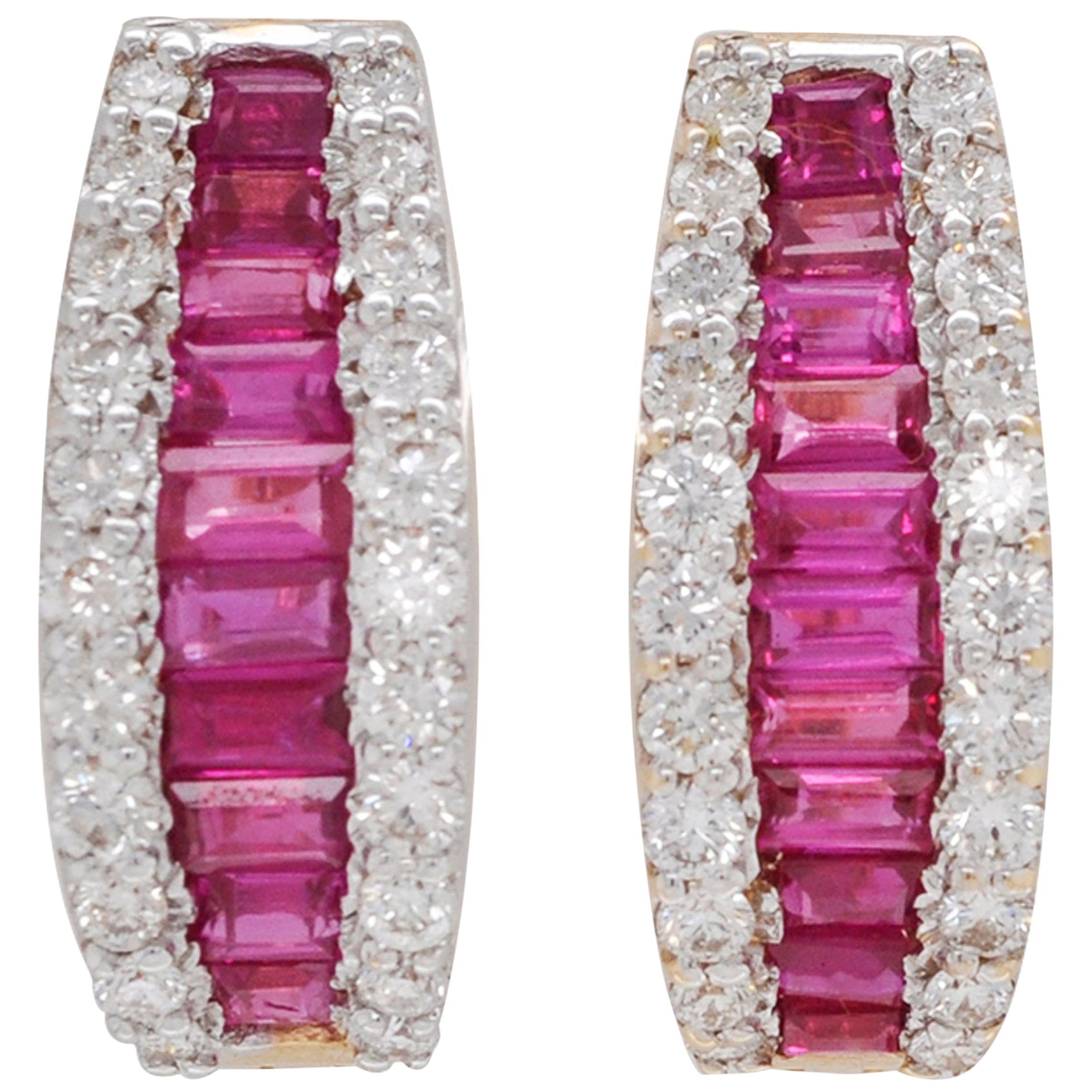 18 Karat Gold Channel Set Burma Ruby Baguette Diamond Huggies Hoop Earrings