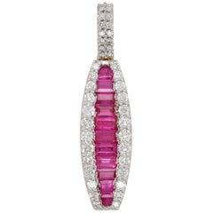 18 Karat Gold Channel Set Ruby Baguette Diamond Linear Pendant Necklace