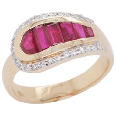 18 Karat Gold Channel Set Ruby Baguettes Diamond Round Ring