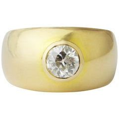 18 Karat Gold Cigar Band Ring with Brilliant Old Cut Diamond
