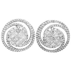 18 Karat Gold Circle Spiral Stud Earrings with Princess and Round Cut Diamonds