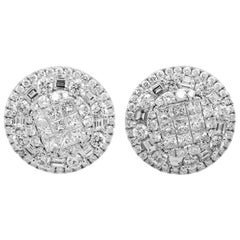 18 Karat Gold Circle Stud Earrings with Round Princess and Baguette Diamonds