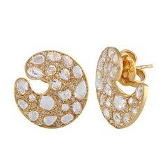 18 Karat Gold Circular Stud Earrings with Yellow and White Diamonds