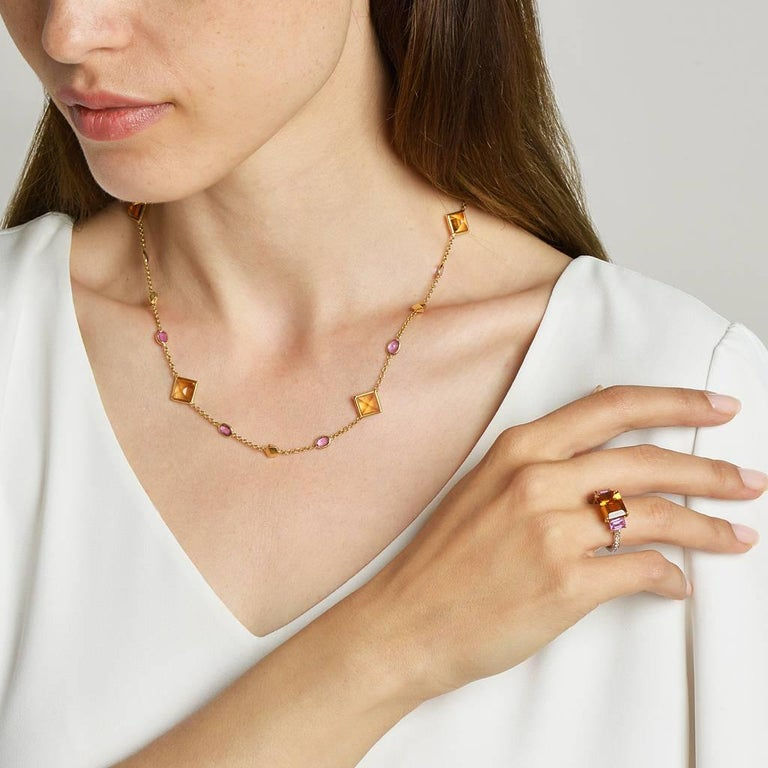 Emerald Cut 18 Karat Gold Citrine 3.87 Carat, Pink Sapphire 1.22 Carat and Diamond Ring For Sale