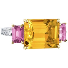 Paolo Costagli 18 Karat Gold Citrine 3.87 Carat, Pink Sapphire and Diamond Ring