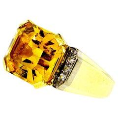 18 Karat Gold, Citrine and Diamond Retro Ring, circa 1950