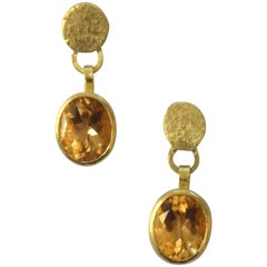 18 Karat Gold Citrine Drop Earrings Handmade by Disa Allsopp