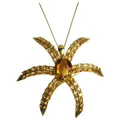 18 Karat Gold Citrine Star Motif Pendant Necklace Brooch 45 Carat
