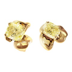 18 Karat Gold Clip-On Earrings with 2 Carat GIA Certified Fancy Yellow Diamonds