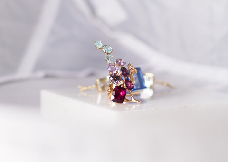 Artist 18 Karat Gold Cluster Brooch with 14 Carat Sapphires, and Paraiba Tourmalines For Sale