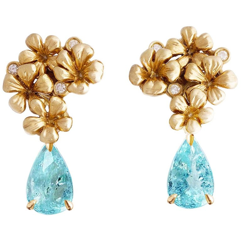 18 Karat Gold Cocktail Earrings with Diamonds and Blue Paraiba Tourmalines For Sale