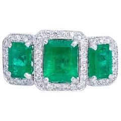 18 Karat Gold Cocktail Ring Emeralds Diamonds Certified, 1970
