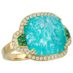 18 Karat Gold Cocktail Ring with Amazonite Green Tsavorites, Quartz and Diamonds