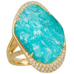 18 Karat Gold Cocktail Ring with Amazonite, Rock Crystal Quartz and Diamonds