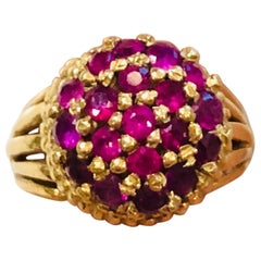 18 Karat Gold Cocktail Ring with Natural Rubys, circa 1960