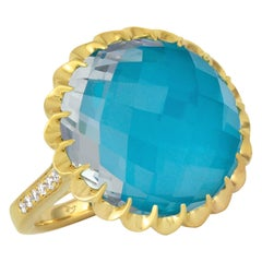 18 Karat Gold Cocktail Ring with White Topaz, Arizona Turquoise and Diamonds