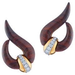 18 Karat Gold Cocobolo Wood and Diamond Wave Earrings Signed Fred Leighton