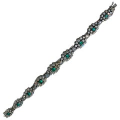 18 Karat Gold Colombian Emerald and Diamonds Bracelet, 1940-1950