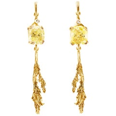 18 Karat Gold Contemporary Earrings with GIA Certified 4 Carat Yellow Diamonds