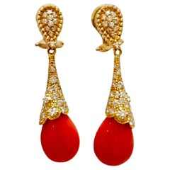 18 Karat Gold Coral and Diamonds Earrings