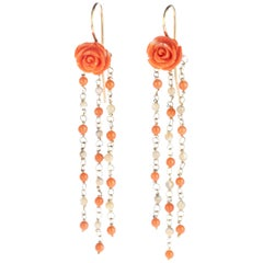 18 Karat Gold Coral Rose Mother Pearl Beads Cascade Dangle Chandelier Earrings