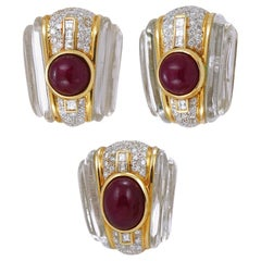 18 Karat Gold Crystal, Cabochon Ruby and Diamond Earrings Suite
