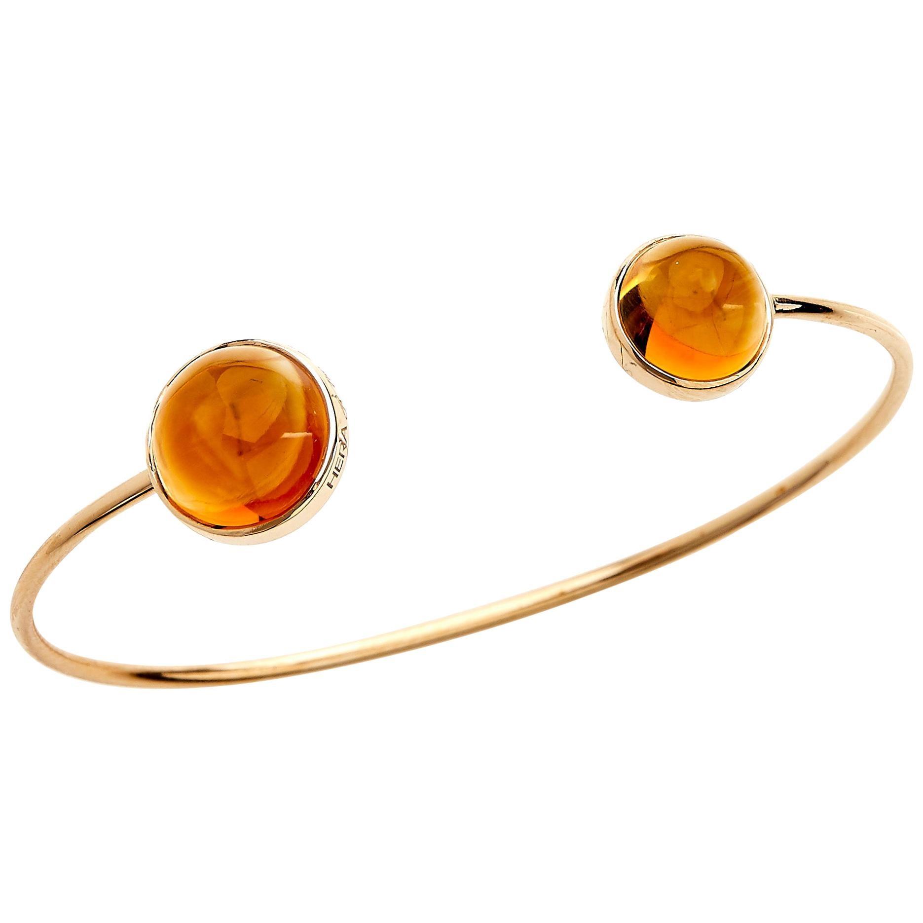 18 Karat Rose Gold Cuff Bangle Bracelet with 8.94 Carat Cabochon Cut Citrines