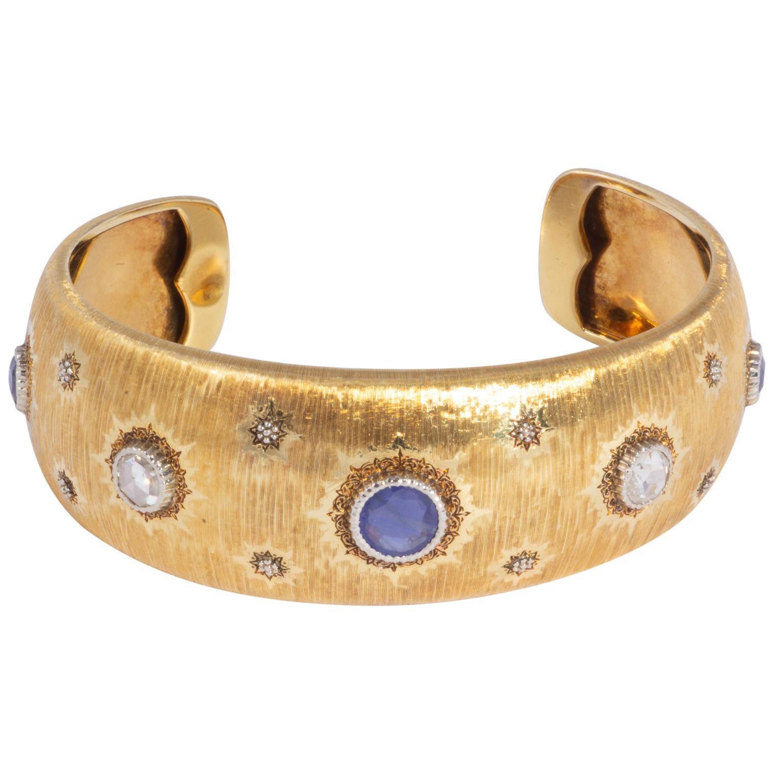 18k Mario Buccellati Gold And Diamond Cuff Bracelet