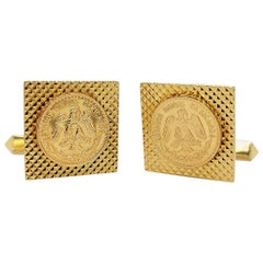 "18 Karat Gold Cufflinks with ""Estados Unidos Mexicanos"" Gold Coin"