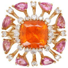 18 Karat Gold Spessartine Cushion Mandarin Garnet Pink Tourmaline Diamond Ring