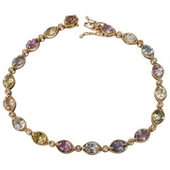 18 Karat Gold Custom Made Bracelet with 18 Multi-Color Sapphires and Diamonds