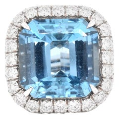 18 Karat Gold Cut Cornered Radiant Aquamarine and Pave Diamond Cocktail Ring