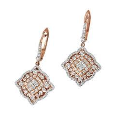 18 Karat Gold Dangle Earring Rose Gold Halo Fashion Diamond Earring