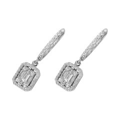18 Karat Gold Dangle Earring White Gold Baguette Emerald Cut Illusion Diamond