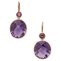 18 Karat Rose Gold Dangle Earrings Set with 18.51 Carat Amethysts and Spinels