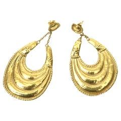 18 Karat Gold Dangle Pierced Earrings Italian Vintage