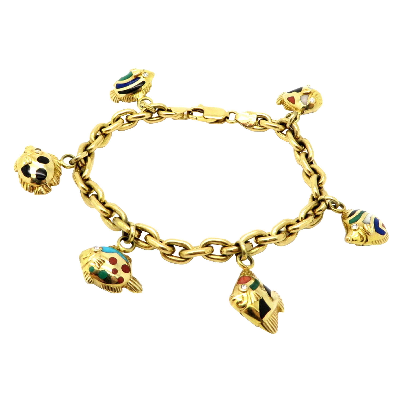 18 Karat Gold Designer Asch Grossbardt Multi-Stone and Diamond Fish Bracelet