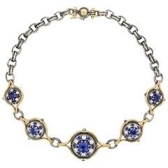 18 Karat Gold Diamond 12 Carat Blue Sapphire Sphere Choker Necklace by Elie Top