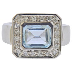 18 Karat Gold Diamond 1.63 Carat Aquamarine Ring