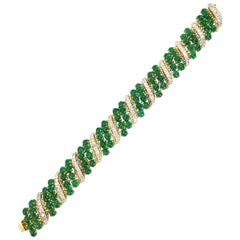 18 Karat Gold Diamond and Cabochon Emerald Wide Bracelet