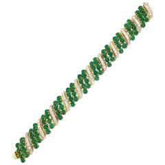18 Karat Gold Diamond and Cabochon Emerald Wide Bracelet