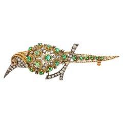 18 Karat Gold Diamond and Emerald Infused Bird Brooch