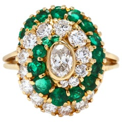 18 Karat Gold Diamond and Emerald Ring