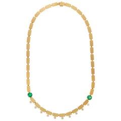 18 Karat Gold Diamond and Emerald River Dew Necklace