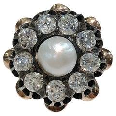 18 Karat Gold Diamond and Pearl Daisy Ring