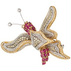 18 Karat Gold Diamond and Ruby Butterfly Brooch