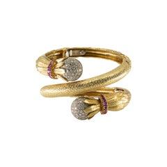 18 Karat Gold Diamond and Ruby Coiled Bracelet